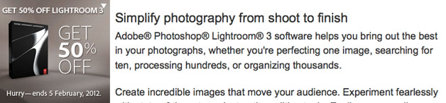Adobe Photoshop Lightroom 3 – special offer