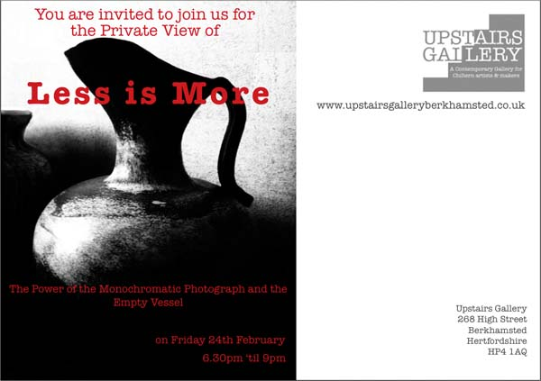 Less is more, exhibition at the Upstairs Gallery Berkhamstead